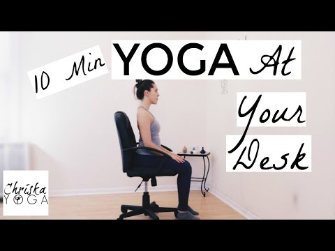 Yoga At Your Desk 10 Min Office Yoga Stretches Chair Yoga for Everyone Yoga At Work