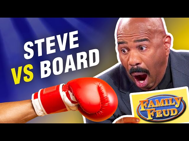 Steve Harvey defeated by the board on Family Feud! Insane answers actually up there!