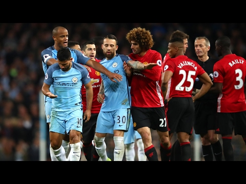 Manchester derby: Mourinho questions Agüero after Fellaini red card – video