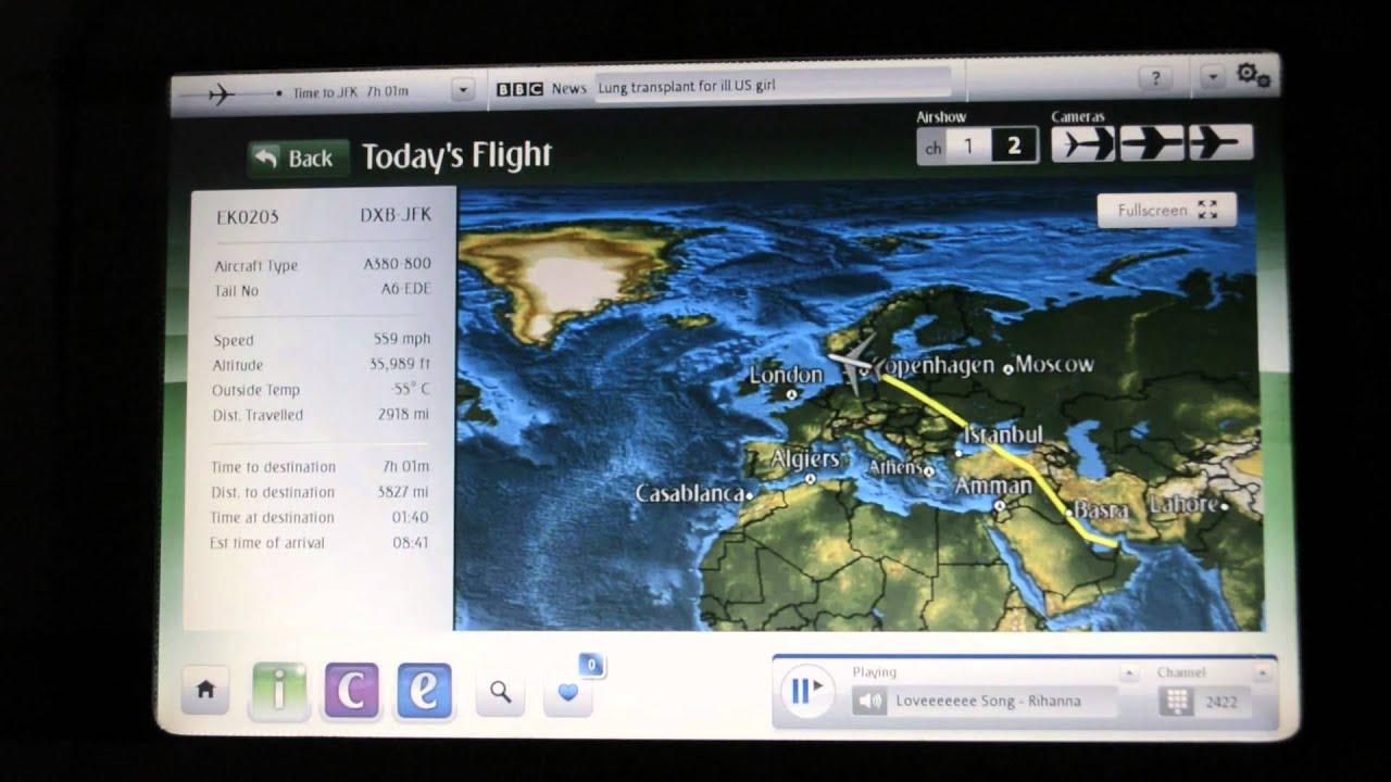 Emirates EK203 A380 Economy Dubai to New York JFK (A6-EDE) - YouTube