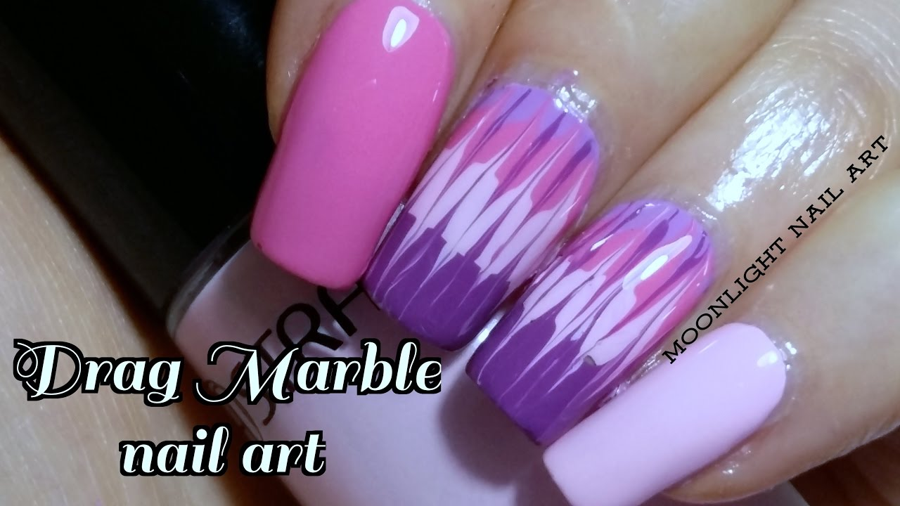 Purple Drag Dry Marble Nail Art Tutorial Youtube