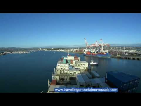 Container vessel entering the port of Tauranga, New Zealand
