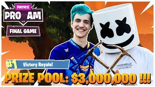 Fortnite Celebrity Pro-Am 2018 | FINAL GAME 3 [DUO] | PRIZE POOL $3,000,000 | Ninja & Marshmallow!