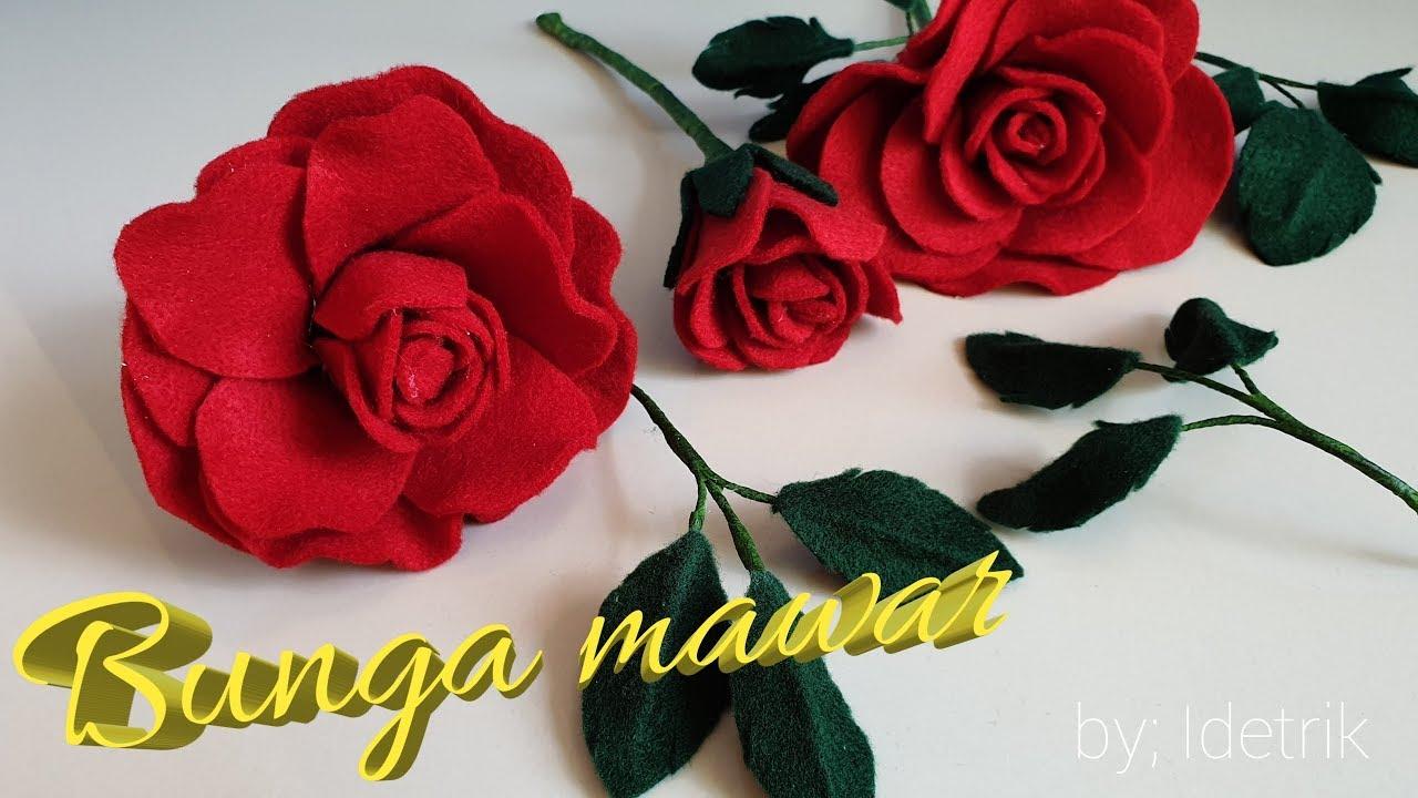 Diy Bunga Mawar Dari Kain Flanel How To Make Felt Rose Flowers Youtube