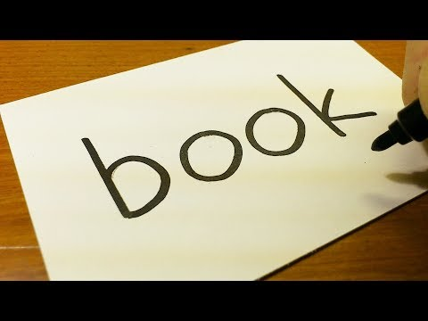 Very Easy ! How to turn words BOOK into a Cartoon for kids -  How to draw doodle art on paper