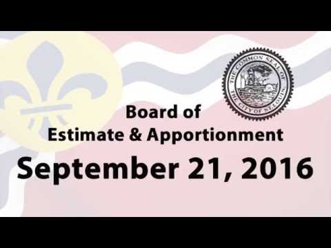 Board of Estimate & Apportionment Meeting - September 21, 2016