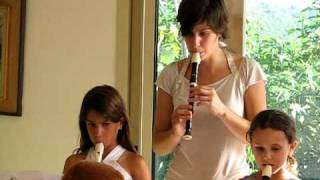 """Noga Linder plays her recorder together with teaches Tom and her friends, at the """"End of the year concert, Bat shlomo, Israel, 28.6.09."""