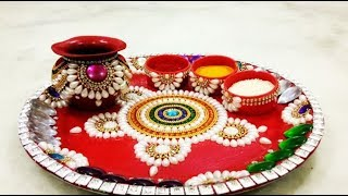 NEW Decorative Pooja Thali IDEAS FOR Diwali and WEDDING HANDMADE THALI MAKING AT HOME