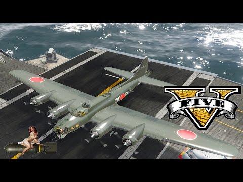 GTA 5 mods Lady Bomber Boeing B 17 Flying Fortress + Kawanishi H8K EMILY Style livery WW2 Plane mod