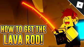 How to get tнe LAVA ROD & BADGE in FISHING SIMULATOR   Roblox