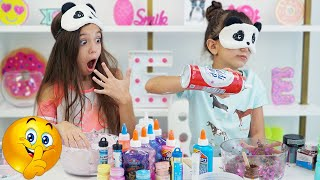 Emily CHEATED!!! Blindfolded Slime Challenge! | Emily and Evelyn