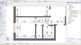 Обмерный план квартиры в архикаде 02 - Чертим внутренние перегородки квартиры в архикаде