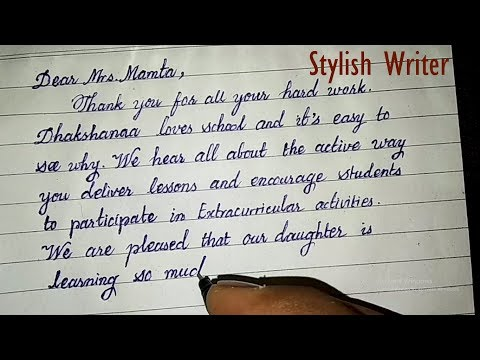 How to write a thank you letter to my childs teacher | cursive handwriting