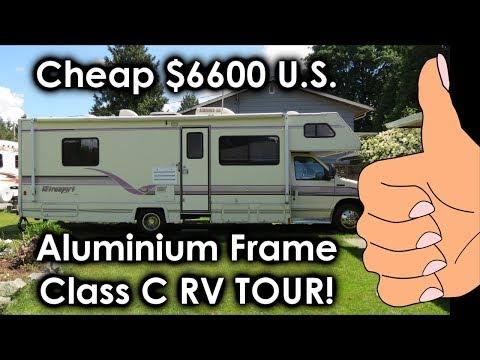 Cheap $6600 all Aluminum Class C RV Tour! 1996 Ford E-350