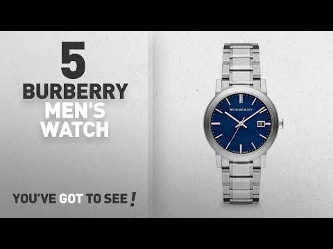 Top 10 Burberry Men's Watch [2018]: Burberry Embossed Blue Dial Stainless Steel Quartz Men's Watch