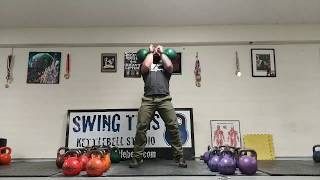 Strength Based Burpees : Pushup to Kettlebell Long Cycle  Complete Training Session with 2x24kg