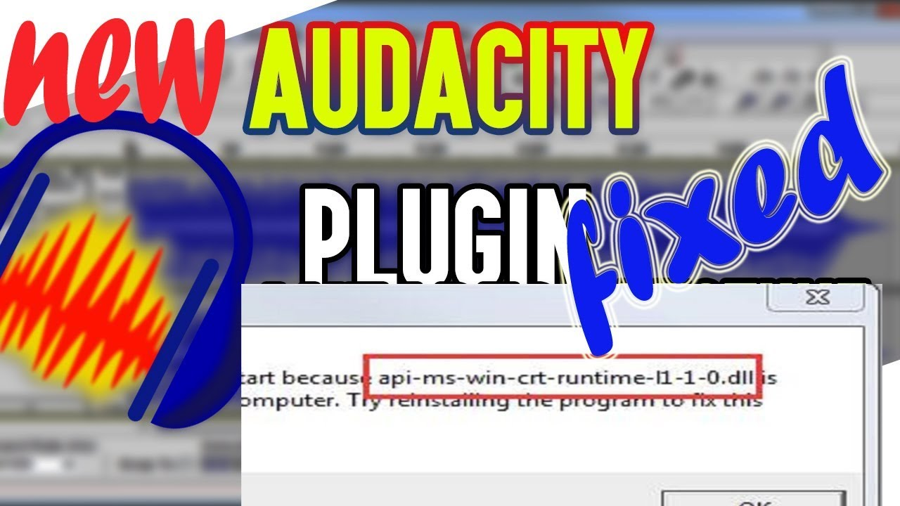 audacity  dll error fixed 100  working  for every window 7 , 8 and 10