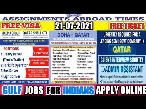 21st/July Gulf Job Vacancy 2021,Assignment Abroad Times Today,Overseas Job Opportunity,Gulf Job 2021