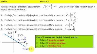 Zadanie 8. Matura 2018 matematyka. Funkcja liniowa. Punkty przecięcia z osiami | MatFiz24.pl