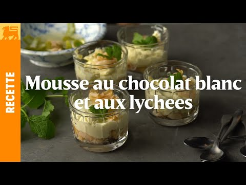 Mousse au chocolat et aux lychees