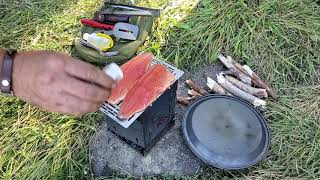 Pack Goat Hiking, Camping, Fishing & Firebox Stove Cooking With My Dogs Ash & Juni Part 03/04