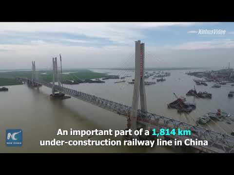 Main construction of world's longest cable-stayed railway bridge completed in China