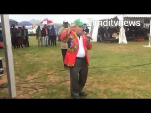 "Zanu pf supporter says ""Pasi na Bhobho"" at the ruling party rally"