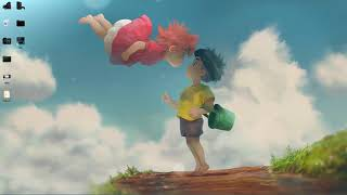 anime ponyo on the cliff by the sea live wallpaper