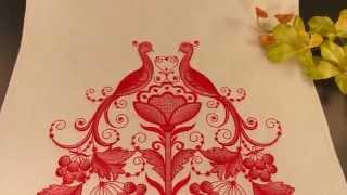 Свадебный хлебосольный рушник Павлины с красной вышивкой