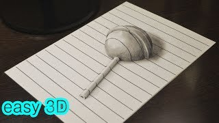 Как нарисовать простой 3D рисунок Chupa Chups Easy 3D Drawing