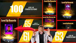 Free fire level up rewards | free fire max 100 level up reward
