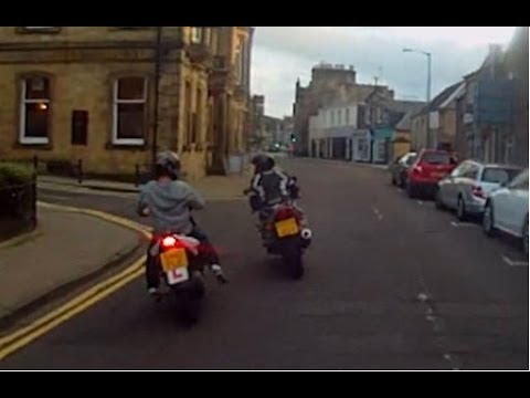 Chav Crashes Into Biker!!