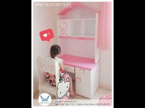 10 Mẫu bàn ghế tiểu học Hello Kitty dễ thương dành cho bé gái vào lớp 1
