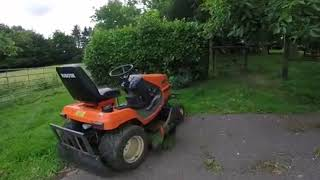 Kubota G2160 Diesel ride on mower in action, Lawn care mowing go pro video.