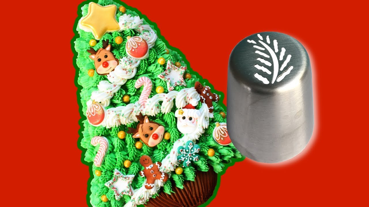 russian pipping tip on a christmas tree cake best christmas decorating tutorial buttercream cake