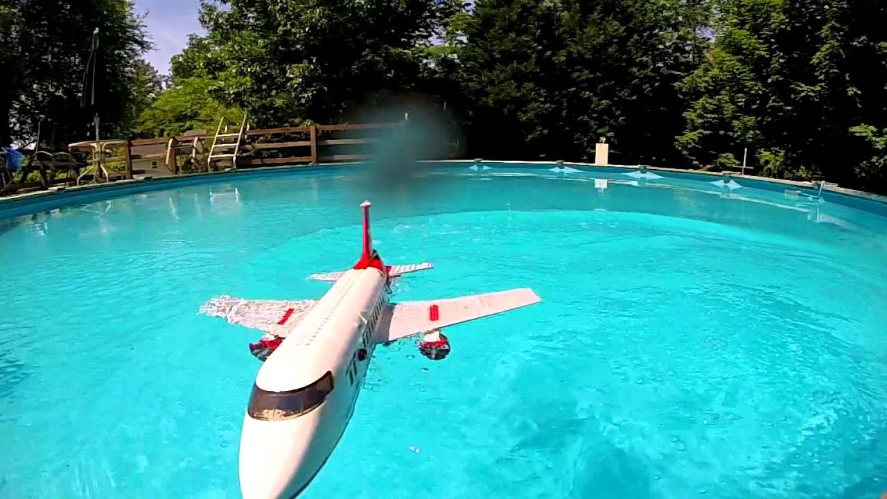 lego plane crash in water slow motion youtube