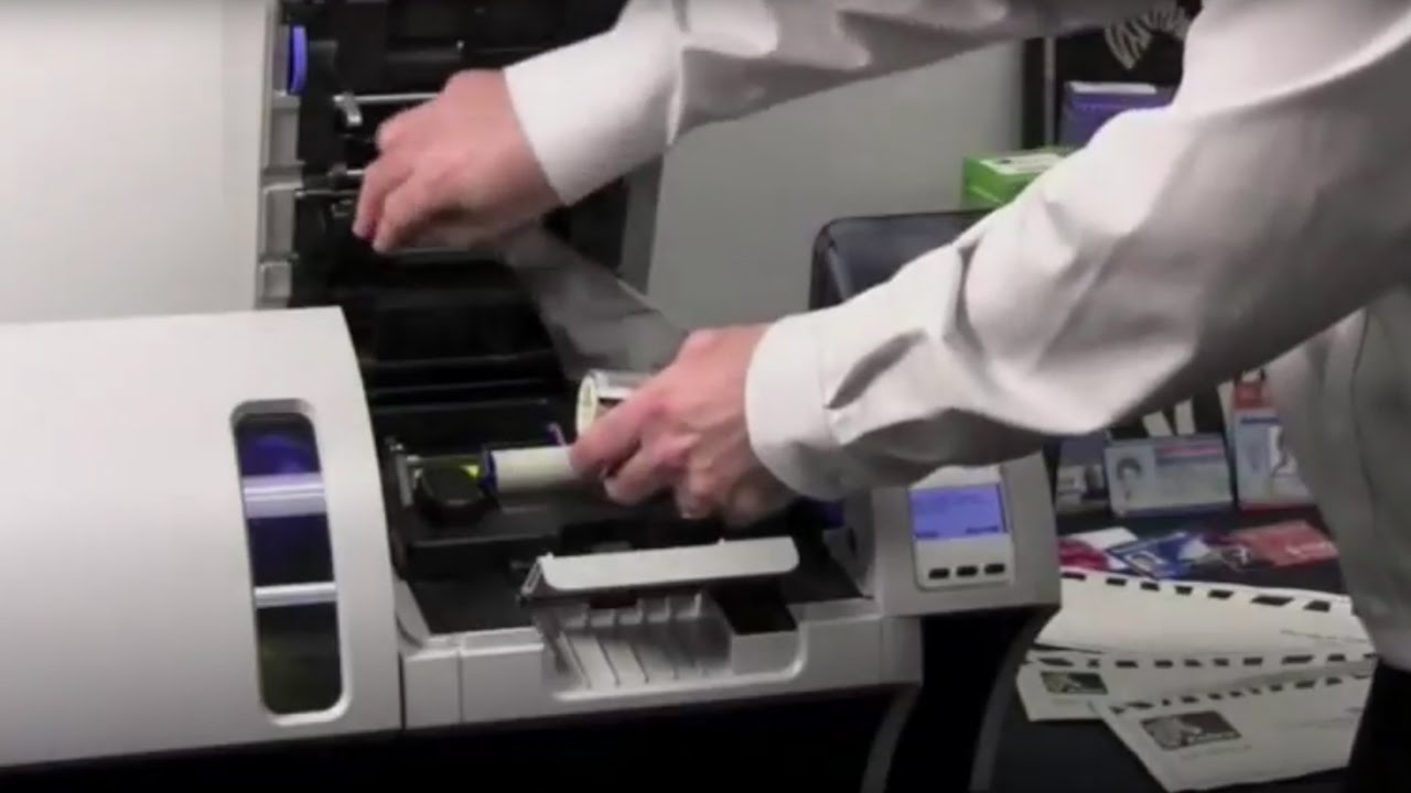 Zebra ZXP Series 8 ID Card Printer - How to Load Ribbons - YouTube 8d5d8768d