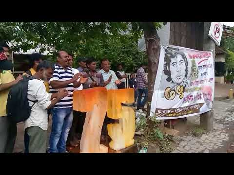 Big bee 75 birthday wish in color full ice  carving artist by Nitin chougule & Rohan  chougule