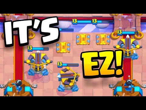 """""""IT'S WAY TOO EASY!!"""" XBOW+TESLA Trophy Pushing Deck CLASH ROYALE!"""