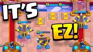 """IT'S WAY TOO EASY!!"" XBOW+TESLA trophy pushing deck CLASH ROYALE!"