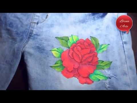 Como Pintar Una Rosa En Jeans Customiza Tu Ropa Parte 1 Youtube