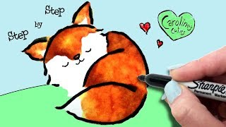 So Easy! How to Draw a Sleeping Fox Step by Step, Cute and Easy Fox Drawing For Beginners