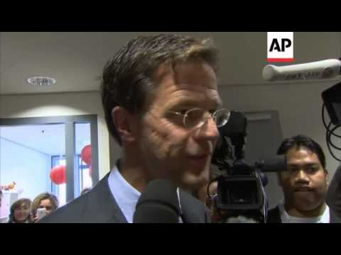 Party leaders vote in Dutch elections, PM Rutte comment