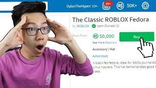 SPENDING 50 000 ROBUX SUR RARE FEDORA!! (Roblox)
