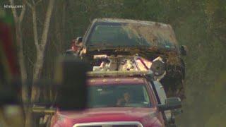 Gutted stolen trucks found in 'car graveyard'