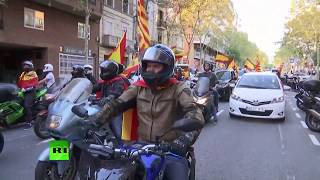 Manifestación sobre ruedas en Barcelona por la unidad de España