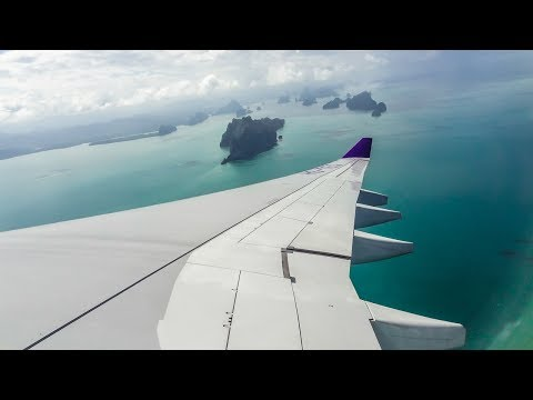 Thai Airways Airbus A330-300 BEAUTIFUL APPROACH and LANDING at Phuket Airport (HKT)