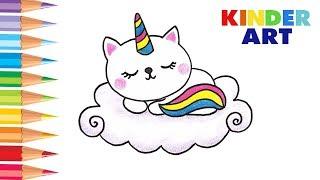 Как нарисовать кота / кошку единорога поэтапно | How to draw cat unicorn