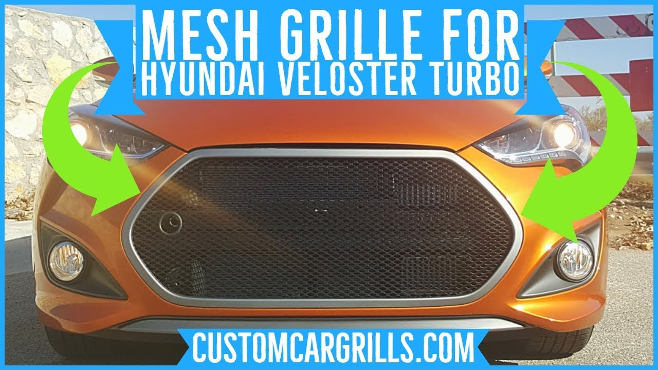 Hyundai Veloster Turbo Brickless Mesh Grill Installation How-To by  customcargrills com