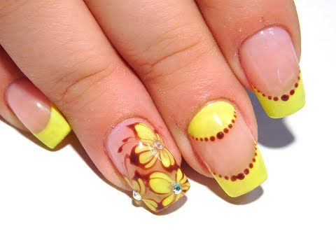 Желтые цветы ТОП Красивый и простой летний дизайн ногтей nail art